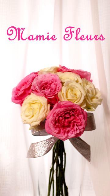 ピンクと白のローズのブーケS1